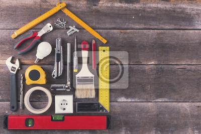 Haus Renovierung Und Verbesserung Diy Werkzeuge Auf Altem Holzernem