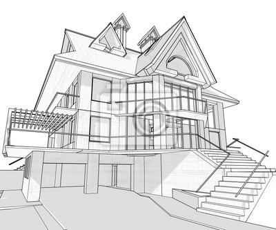 Haus Technische Zeichnen Fototapete Fototapeten Gehause