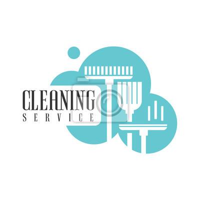Haus-und büroreinigung service miete logo-vorlage mit besen und ...