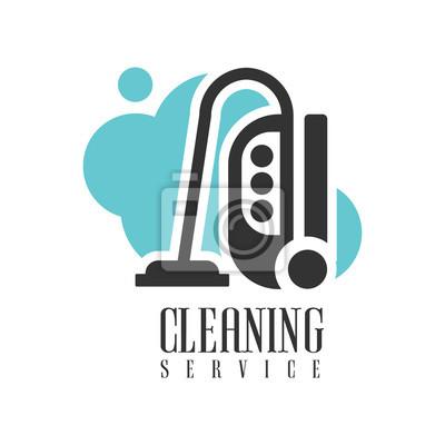Haus-und büroreinigung service miete logo-vorlage mit staubsauger ...