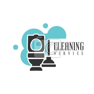 Haus-und büroreinigung service miete logo-vorlage mit toilette ...