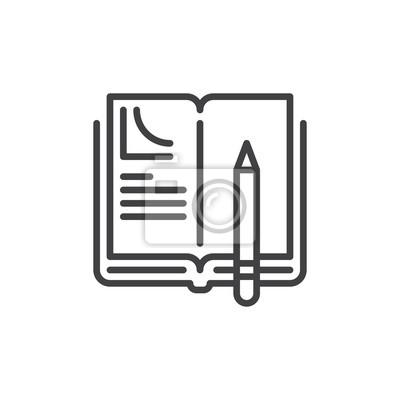 Hausaufgaben-symbol, kontur vektor-zeichen, lineare stil piktogramm ...
