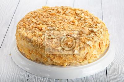 Hausgemachte Blatterteig Kuchen Napoleon Nahaufnahme Fototapete
