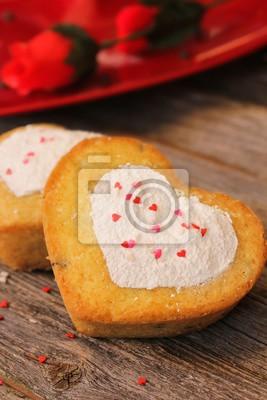 Hausgemachte Zwei Mini Herz Kuchen Mit Herzform Schablone Arbeiten