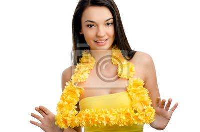 Hawaii Frau Trägt Eine Einladende Gelbe Blume Lei Girlande