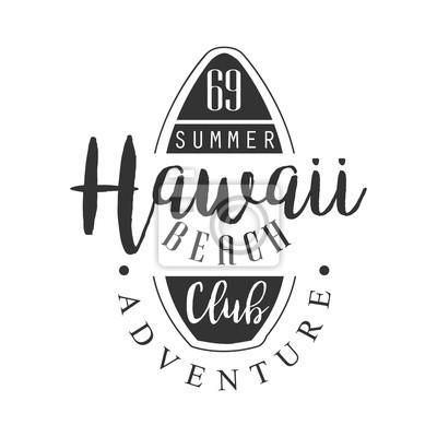 Hawaii strand abenteuer club logo vorlage, schwarz und weiß vektor ...