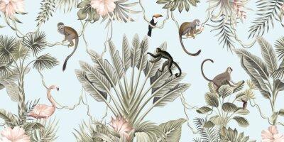 Fototapete  Hawaiian vintage botanical palm tree,banana tree, palm leaves, hibiscus flower, liana, monkey animal summer paradise floral seamless border blue background.Exotic jungle wallpaper.  G