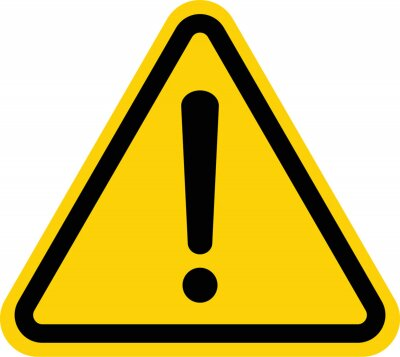 Fototapete Hazard warning attention sign with exclamation mark symbol