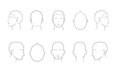 Fototapete Head guidelines for barbershop, haircut salon, fashion. Lined human head in different angles isolated on white background. Adult human outline faces. Set of 10 human head icons. Vector illustration