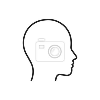 Fototapete Head line silhouette. Profile contour. Vector illustration.