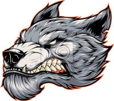 Fototapete Head of a fierce werewolf wolf