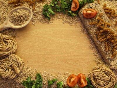 Fototapete Health Food Hintergrund, Reis, Nudeln, Salat und Gemüse.