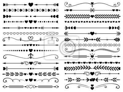 Fototapete Hearts border divider. Love vintage decorative line separator, heart arrows and dotted separating lines isolated vector set