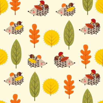 Fototapete Hedgehog and decorative leaves seamless pattern. Autumn forest nature background. Baby hedgehog with trees vector illustration. Design for textile, wallpaper, fabric.