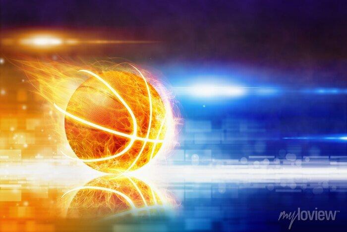 Fototapete Heißer brennender Basketball