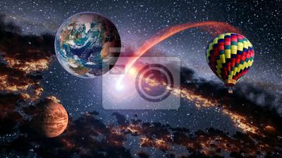 Fototapete Heißluftballon Weltraumschießen Sternplaneten Märchen  Erstaunliche Surreale Fantasielandschaft. Elemente Dieses Bildes Von