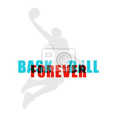Helle Basketballspieler-Silhouette mit Farbkanaltext, der Sportillustration überlappt