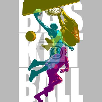 Helle Basketballspieler-Silhouetten mit Farbkanal, der Sportillustration überlappt