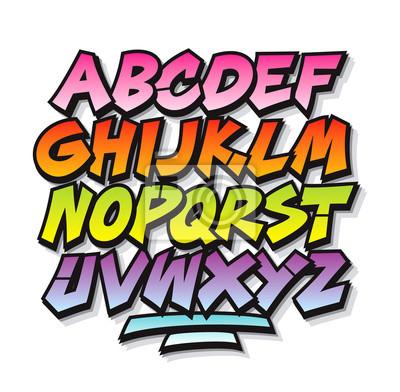 Helle, Cartoon, Comic Graffiti doodle Schrift Alphabet. Vektor