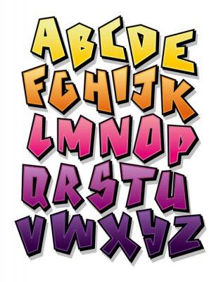 Helle Comic Comic Graffiti Schriftart. Bearbeitbares Vektoralphabet
