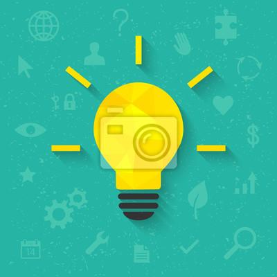Helle idee konzept mit glühbirne und verwandte symbole im ...