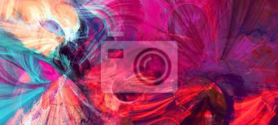 Fototapete Helle künstlerische Spritzer. Abstrakte Malerei Farbtextur. Modernes futuristisches Muster. Dynamischer heller Mehrfarbenhintergrund. Fraktalgrafik für kreatives Grafikdesign