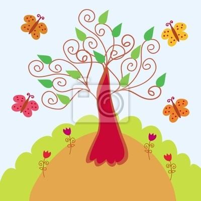 Helle Landschaft mit stilisierten Baum und Schmetterlinge
