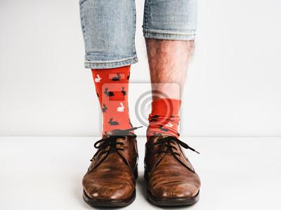 Helle Lustige Socken Weinlese Braune Schuhe Und Die Beine