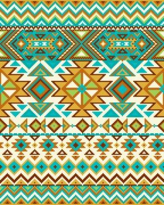Fototapete Helle nahtlose Hintergrund mit Pixel-Muster in aztec geometrischen Stammes-Stil. Abbildung. Pantone Farben.