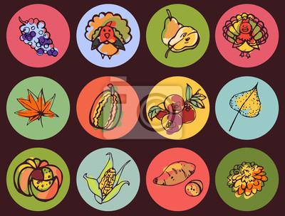 Helle runde symbole erntedankfest mit stil farbskizze fototapete ...