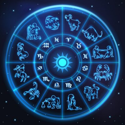 Helle symbole des tierkreises und horoskop kreis, astrologie ...
