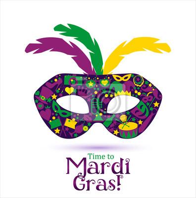 Helle vektor karneval symbole und zeichen time to mardi gras ...