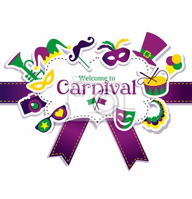 Helle vektor karneval symbole und zeichen willkommen bei carnival ...