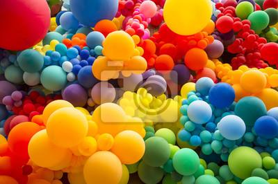 Fototapete Heller abstrakter Hintergrund des Durchdrußens des Regenbogens färbte die Ballone, die homosexuellen Stolz feiern