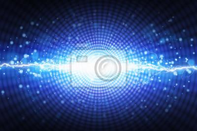 Heller Blitz des blauen Lichtes auf radialem Hintergrund, helles lightnin