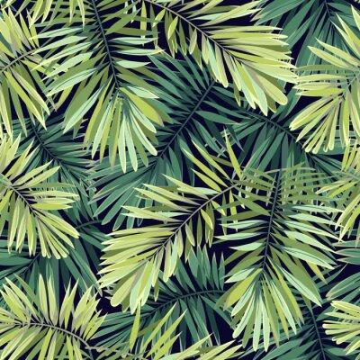 Fototapete Heller grüner Hintergrund mit tropischen Pflanzen. Nahtlose Vektor exotischen Muster mit Phoenix Palmblätter.