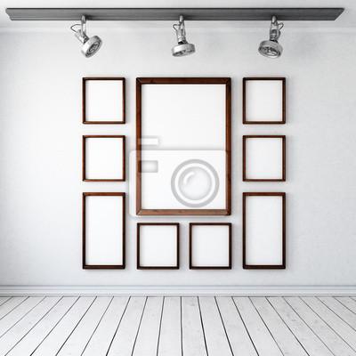 Heller Raum Mit 9 Bilderrahmen An Der Wand Und 3 Deckenstrahlern