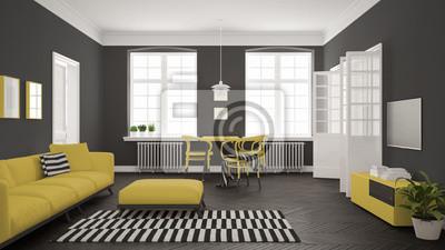 Fototapete Helles Minimalistisches Wohnzimmer Mit Sofa Und Esstisch Skandinavisch