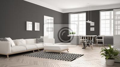 Helles Minimalistisches Wohnzimmer Mit Sofa Und Esstisch