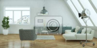 Fototapete Helles Wohnzimmer Im Dachgeschoß