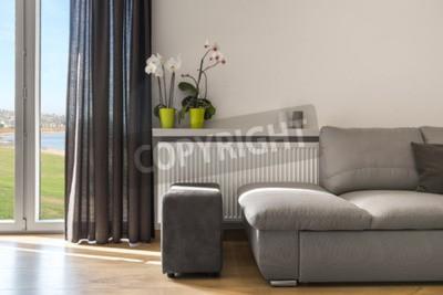 Gut Fototapete Helles Wohnzimmer Mit Bequemem Sofa, Pouffe Und Balkontüren Mit  Dekorativem Vorhang, Orchideen Stehen
