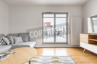Helles Wohnzimmer Mit Grauem Sofa Tv Holzschrank Tisch Teppich