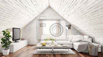 Fototapete Helles Wohnzimmer Mit Sofa Im Dachgeschoss