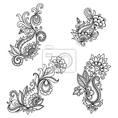 Henna Tattoo Blume Vorlage In Indischen Stil Ethnisches