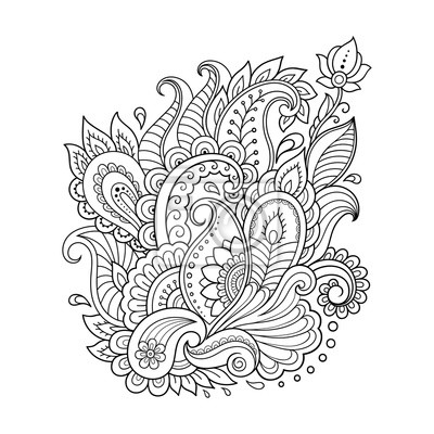 Henna tattoo blume vorlage in indischen stil. ethnisches ...