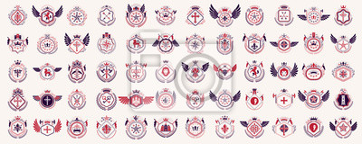 Fototapete Heraldic Coat of Arms vector big set, vintage antique heraldic badges and awards collection, symbols in classic style design elements, family or business logos.
