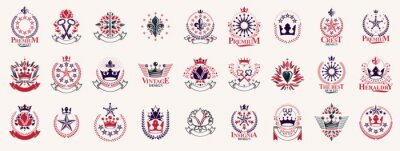 Fototapete Heraldic Coat of Arms with crowns and stars vector big set, vintage antique heraldic badges and awards collection, symbols in classic style design elements, family or business logos.