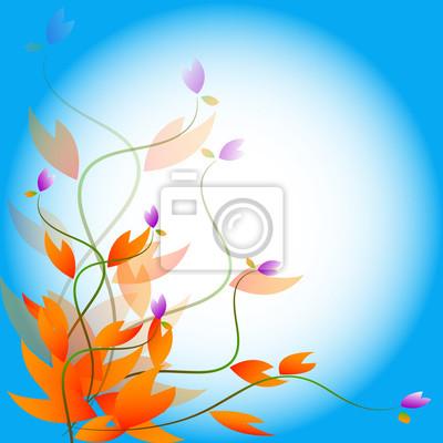 Herbst abstrakt auf blauem Hintergrund