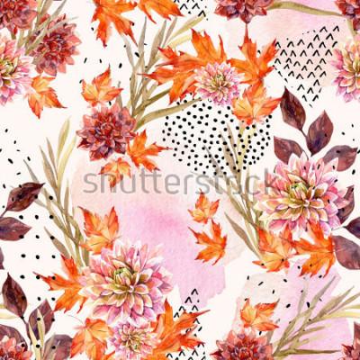 Fototapete Herbst Aquarell nahtlose Blümchenmuster. Hintergrund mit Dahlie blüht, Blätter, die geometrischen Formen, die mit Gekritzelbeschaffenheit gefüllt werden. Hand gezeichnete Aquarellkunstillustration für