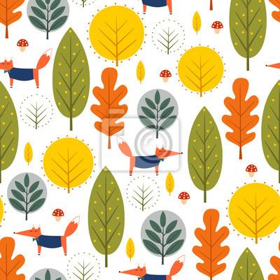 Fototapete Herbst Bäume und Fuchs nahtlose Muster auf weißem Hintergrund. Dekorative Wald-Vektor-Illustration. Cute wilde Tiere Natur Hintergrund. Skandinavischen Stil Design für Textilien, Tapeten, Stoff, Dekor